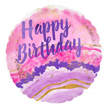 """Foil Balloons Birthday Pink Marble 18"""""""
