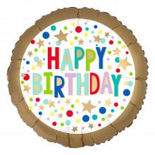 "Foil Balloons Birthday Satin Gold 18"""