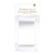 50mm x 10m White Wedding Car Ribbon