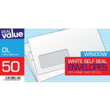 R/V DL White Self Seal Window Envs 50s
