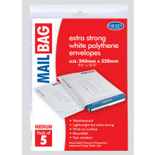 Pack 5 Medium Poly Mail Bags 240x320mm