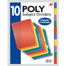 A4 Poly Subject Dividers 10 Part