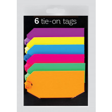 6 Tie-on Gift Tags Neon Colours Assorted