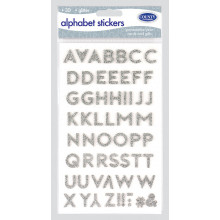 3D Glitter Stickers - Silver Letters
