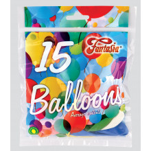 "9"" Assorted Balloons Pack 15 CDU"
