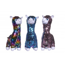 33cm Sequin Llama Soft Toy With Sparkle Eyes