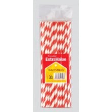 Extra Value Paper Straws - Red/White 30s