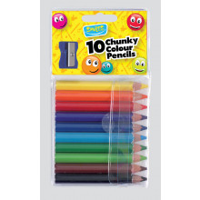 Smiles 10 Chunky Col'd Pencils/Sharpener