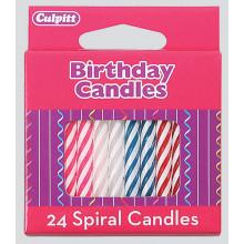 Culpitt Assorted Spiral Candles 24s