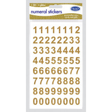 3D Glitter Stickers - Gold Numbers