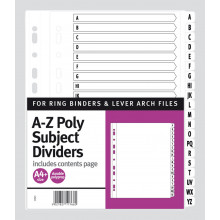A4+ A-Z Poly Subject Dividers