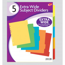 A4 Ex. Wide Card Subject Dividers 5 Part