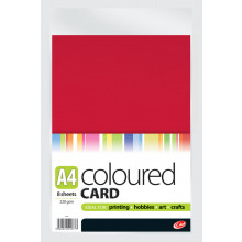 A4 Coloured Card 8 Sheets 220gsm