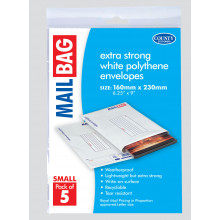 Pack 5 Small Poly Mail Bags 160x230mm