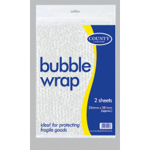 Bubble Wrap 2 Sheets 254x381mm