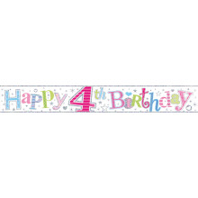 2.5m Party Banner Age 4 Girl