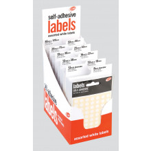White Self Adhesive Labels CDU Asst