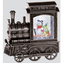 17.5cm Silver Train Snowman Scene