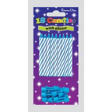 Blue Glitter Spiral Candles & Holders