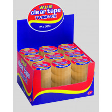 Clear Tape Twin Pack 19mmx50m