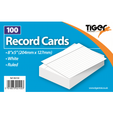"White Ruled Record Cards 8""x5"" 100s"