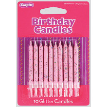 Culpitt Pink Glitter Candles 10s