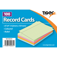 "Coloured Ruled Record Cards 6""x4"" 100s"