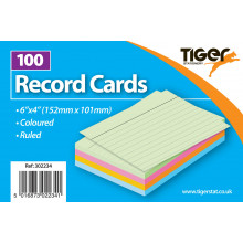 "White Plain Record Cards 6""x4"" 100s"