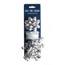 Silver Bow & Ribbon Cop Set 3Pce