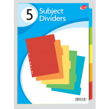 A4 Card Subject Dividers 5 Part
