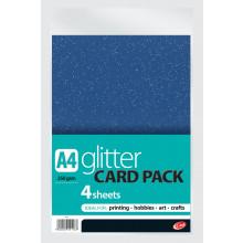 A4 Glitter Craft Card Asst 250gsm 4sht
