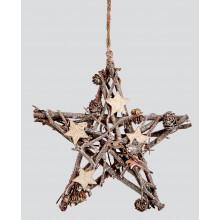 C2409 25cm Sparkle Twig Star & Cones