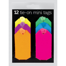 12 Mini Neon Tie-on Gift Tags Assorted