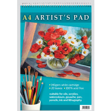 A4 Artist Pad Spiral 20 Leaves 140gsm