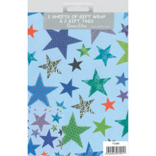Flat Gift Wrap & Tags Blue Stars F2586