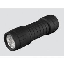 Black Rubber 9 LED Torch