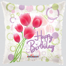 Foil Balloons Happy Birthday Tulips