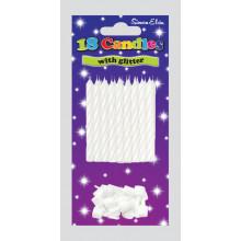 White Glitter Spiral Candles & Holders