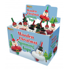 Wooden Christmas Spinning Tops