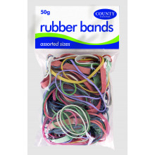 Coloured Rubber Bands 50gm Assorted