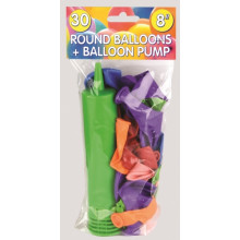 "30 8"" Balloons with Pump"
