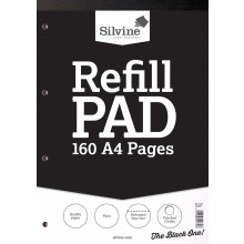 Silvine A4 Plain Refill Pad 160 Pages