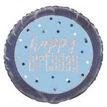 Glitz Foil Balloon Birthday Blue Round