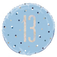 Glitz Foil Balloon Age 13 Blue