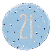 Glitz Foil Balloon Age 21 Blue