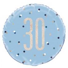 Glitz Foil Balloon Age 30 Blue