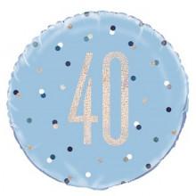 Glitz Foil Balloon Age 40 Blue