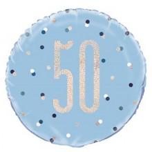 Glitz Foil Balloon Age 50 Blue