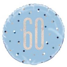 Glitz Foil Balloon Age 60 Blue