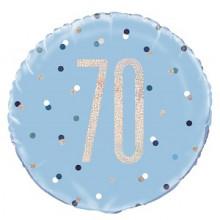 Glitz Foil Balloon Age 70 Blue